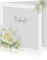 Mooie bedankkaart met een witte roos met zilverlijn