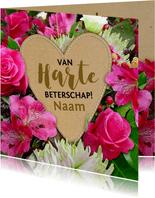 Mooie beterschapskaart hart op bloemen