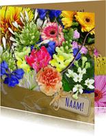 Mooie beterschapskaart met boeket kleurige bloemen