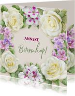 Mooie beterschapskaart met krans van witte rozen