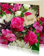 Mooie Beterschapskaart met rozen en Chrysanten