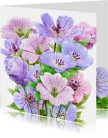 Mooie bloemenkaart blauwe en roze bloemen met Bolderik