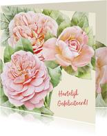 Mooie bloemenkaart met 3 perzik-kleurige rozen