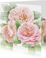 Mooie bloemenkaart met 3 roze rozen