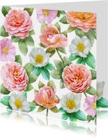 Mooie bloemenkaart met diverse rozen om de groeten te doen