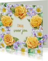 Mooie bloemenkaart met illustratie van gele en witte rozen