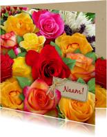 Mooie  bloemenkaart met mooi boeket rozen