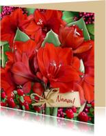 Mooie bloemenkaart met rode Amaryllissen en label voor naam