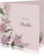 Mooie condoleancekaart met lelies op gewassen achtergrond