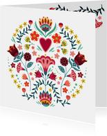 Mooie en kleurrijke bloemenkaart