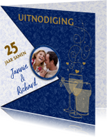 Mooie jubileumkaart uitnodiging 25 jaar samen