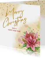 Mooie kaart met kerstrozen op gewassen ondergrond