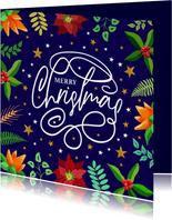 Mooie kerstkaart met tekst krullen sterren en kersttakjes