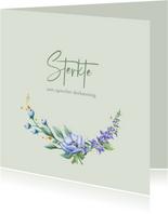 Mooie klassieke condoleancekaart met bloemen