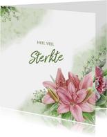 Mooie klassieke condoleancekaart met lelies en takjes