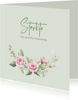 Mooie klassieke condoleancekaart met roosjes en takjes