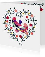 Mooie liefde kaart met vogels in een hart