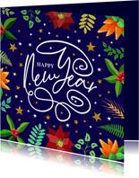 Mooie nieuwjaarskaart met krullen, sterren en kersttakje
