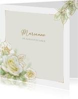 Mooie rouwkaart met een witte roos met goudlijn