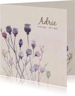 Mooie rouwkaart met papaver op gewassen achtergrond