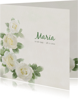 Mooie rouwkaart met rozen op gewassen achtergrond