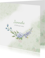 Mooie rouwkaart met takjes en blauwe bloemen