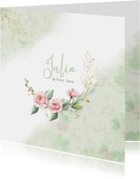 Mooie rouwkaart met takjes en roze roosjes