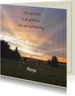 Mooie rouwkaart ondergaande zon met tekstvoorstel
