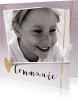 Mooie, stijlvolle communiekaart met foto en hartjes