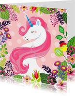 Mooie verjaardagskaart met unicorn en bloemen