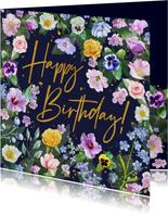 Mooie verjaardagskaart verschillende bloemensoorten