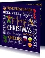 Mooie zakelijke kerstkaart met teksten. takjes, gebak wijn