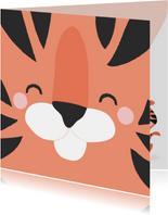 Motiverende kaart met het gezicht van een tijger voorop