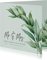 Mr and Mrs trouwkaart botanisch groen bladeren stijlvol