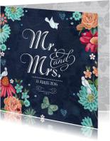 Mr & Mrs Trouwkaart Schoolbord