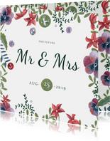 Mr & Mrs trouwkaart Bohemian wedding