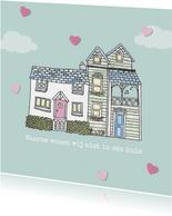 Multifunctionele kaart met hartjes en twee schattige huisjes