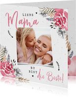 Muttertagskarte botanisch mit Foto und Wasserfarben