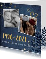 Muttertagskarte botanisch mit Jahreszahlen und Fotos