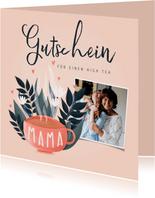 Muttertagskarte Gutschein zum High Tea mit Foto