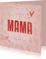 Muttertagskarte Herzen 'Die beste Mama das bist du!'