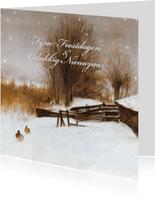 Natuurkerstkaart met wintertafereel 'Eenden in de sneeuw'