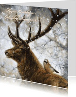 Natuurkerstkaart met wintertafereel 'hert en vogel'
