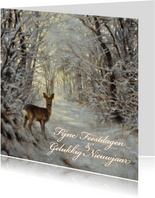 Natuurkerstkaart met  wintertafereel 'Hert in winterbos'