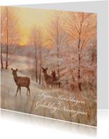 Natuurkerstkaart met wintertafereel 'Hert Zonsondergang'