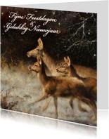 Kerstkaarten - Natuurkerstkaart met wintertafereel 'Herten in donker bos'