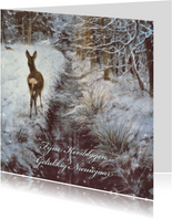 Natuurkerstkaart met wintertafereel 'Hertje bij wintersloot'