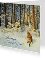 Natuurkerstkaart met wintertafereel 'Vos in het bos'