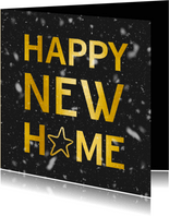 Neujahrs-Umzugskarte mit Typografie und Schnee