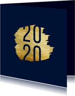 Neujahrskarte dunkelblau mit 2020 auf Gold